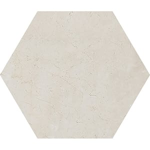 Crema Marfil Honed Hexagon Marble Waterjet Decos 5 25/32x5