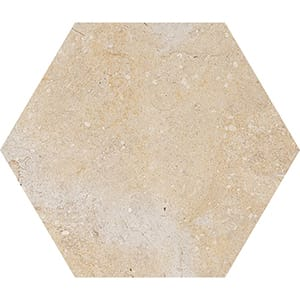 Seashell Honed Hexagon Limestone Waterjet Decos 5 25/32x5