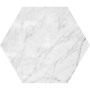 White Carrara C Honed Hexagon Marble Waterjet Decos 5 25/32x5