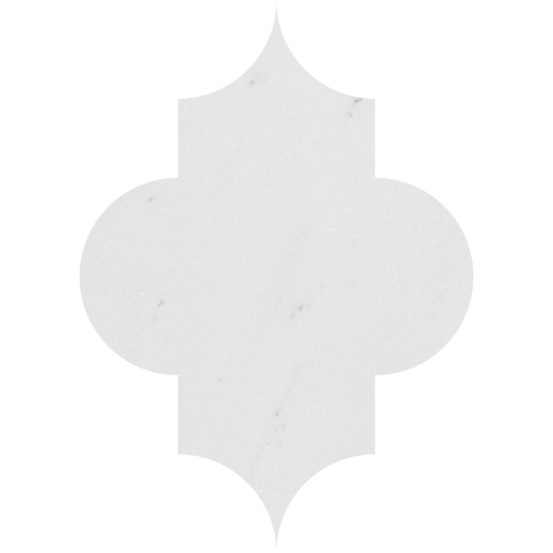 Aspen White Honed Arabesquette Marble Waterjet Decos 6x8 1/4