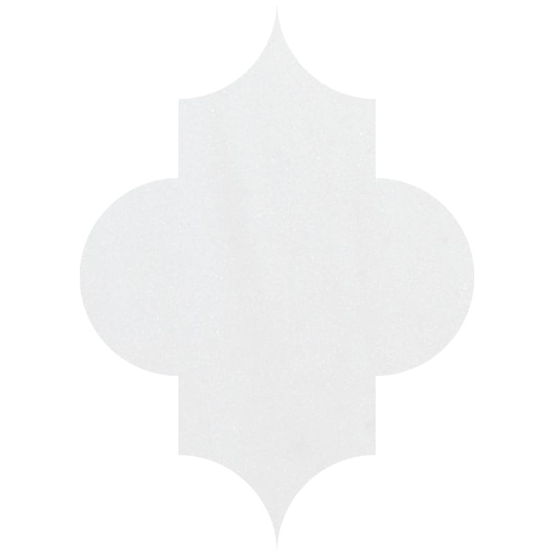 Aspen White Polished Arabesquette Marble Waterjet Decos 6x8 1/4