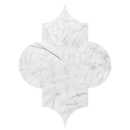 White Carrara C Polished Arabesquette Marble Waterjet Decos 6×8 1/4
