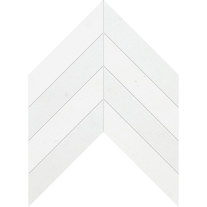 Aspen White Honed Chevron Marble Waterjet Decos 13x10