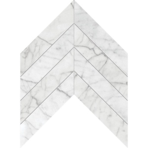 White Carrara C Honed Chevron Marble Waterjet Decos 13x10
