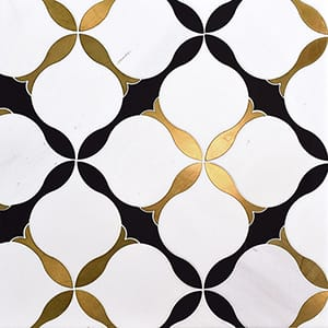 Aspen White, Brass, Black Multi Finish Amelia Marble Waterjet Decos 9x9