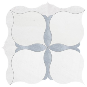 Aspen, Allure, Iceberg Multi Finish Amelia Marble Waterjet Decos 9 5/8x9 5/8