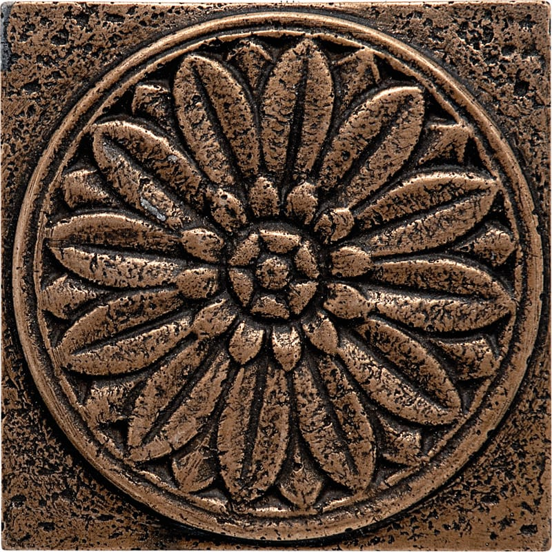 Bronze Brushed Rosette Metal Decorative 4x4
