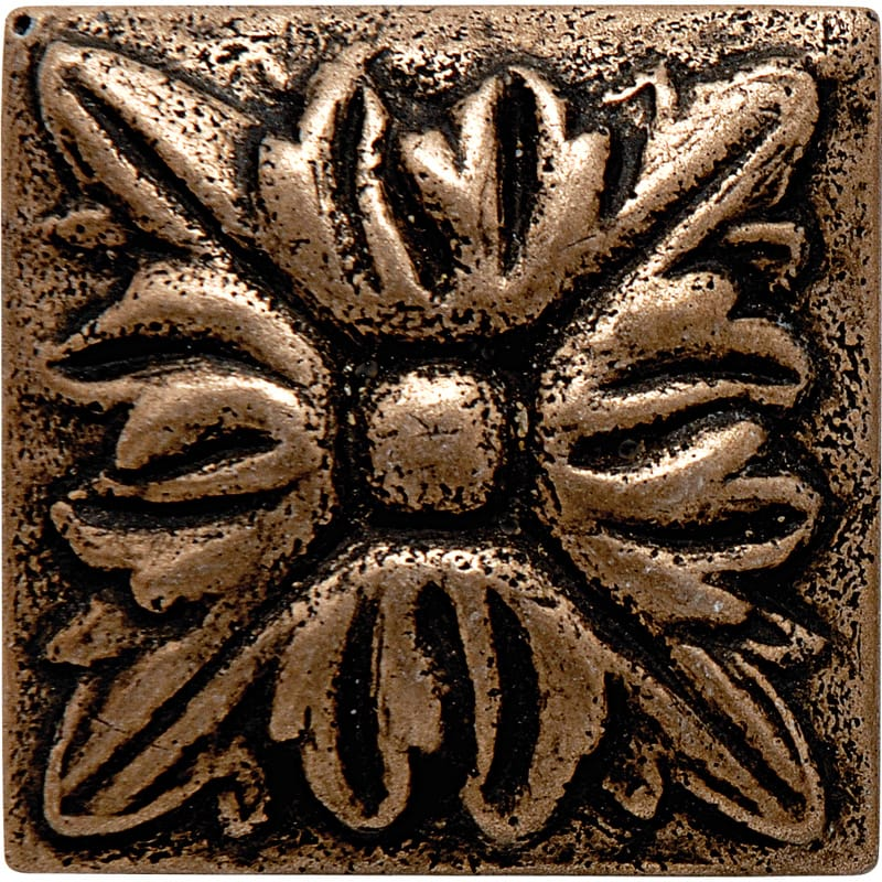 Bronze Brushed Flower Metal Decorative 1 7/8x1 7/8