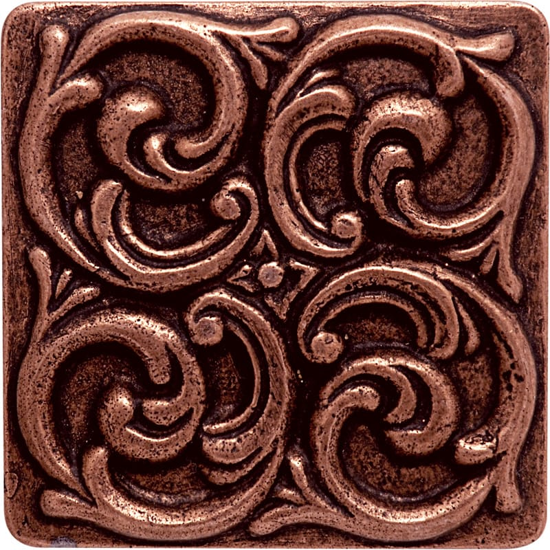 Copper Brushed 4x4 Swirl Metal Decorative