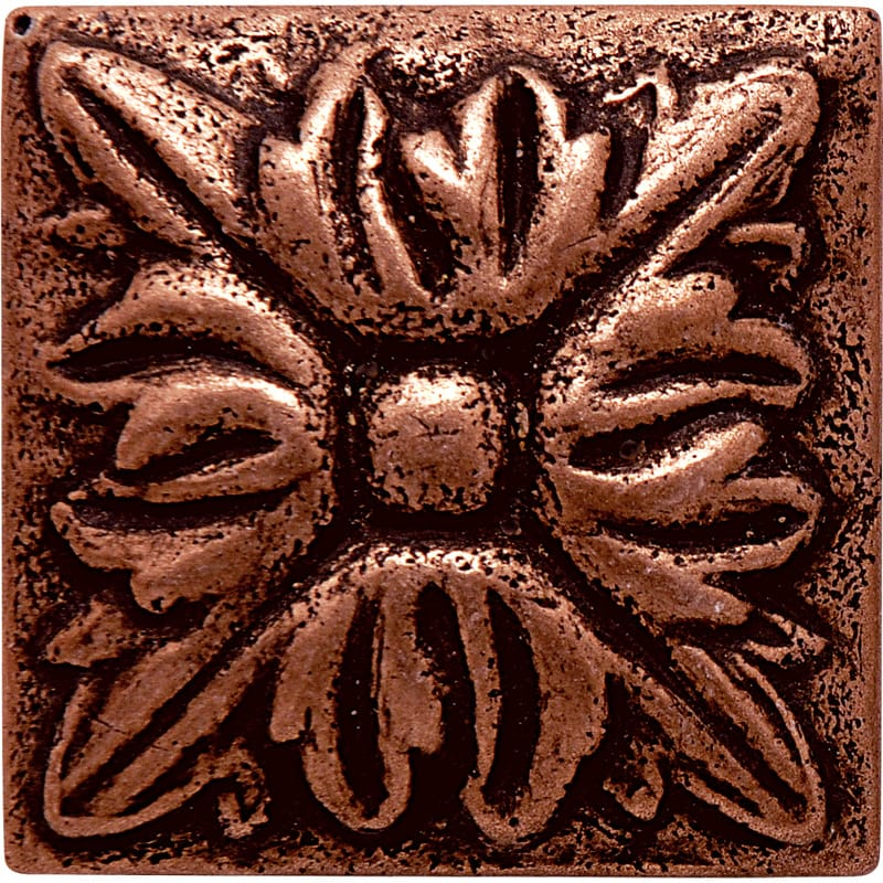 Copper Brushed Flower Metal Decorative 1 7/8x1 7/8