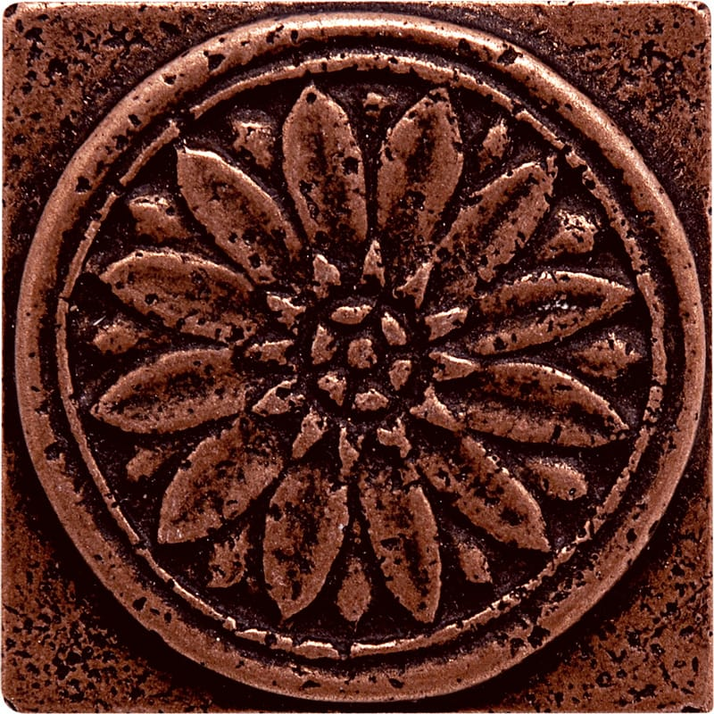 Copper Brushed 1 7/8x1 7/8 Rosette Metal Decorative