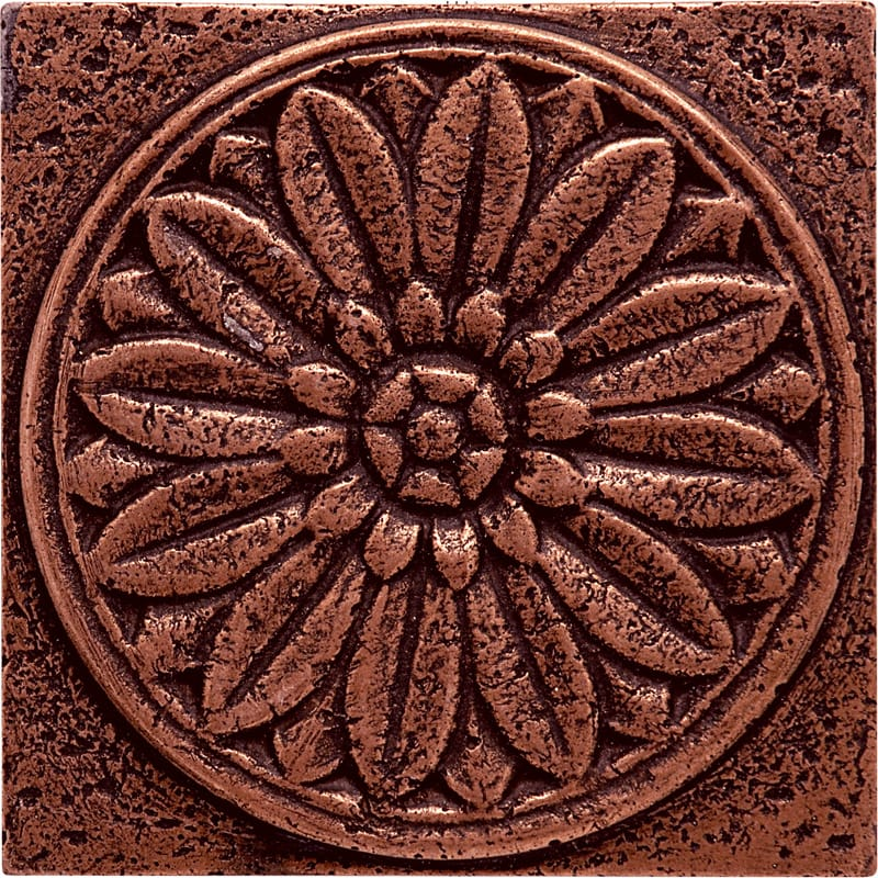 Copper Brushed Rosette Metal Decorative 4x4