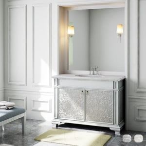 Brushed Aluminum Baroque Cabinet Vanities 35 1/2x21 7/8