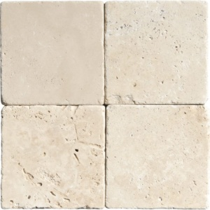 Ivory Tumbled Travertine Tiles 4x4