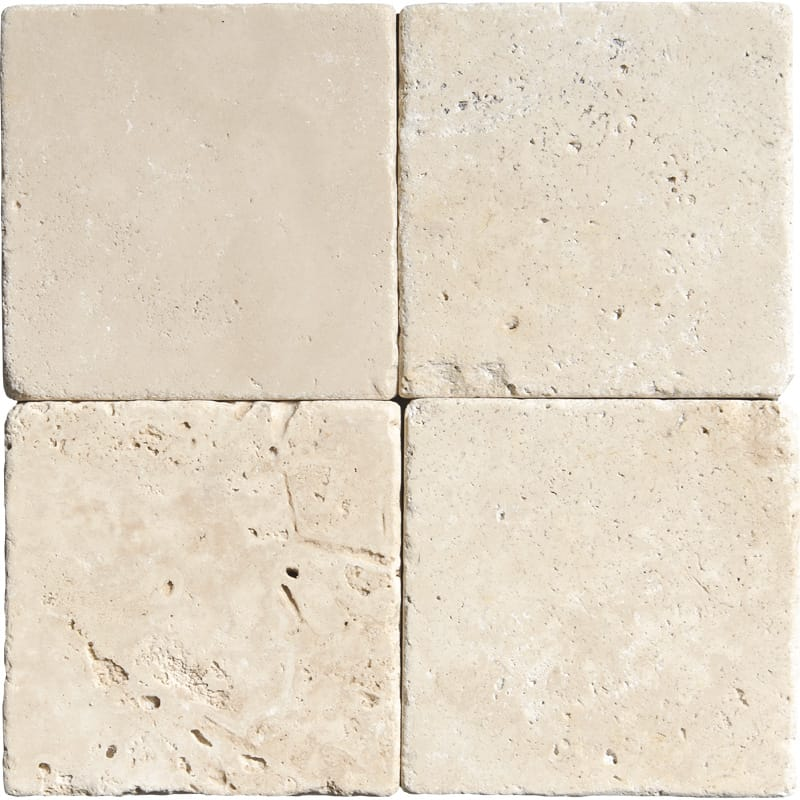 Ivory Tumbled Travertine Tiles Size 4x4