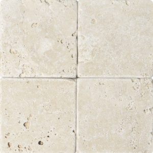 Ivory Tumbled Travertine Tiles 6x6