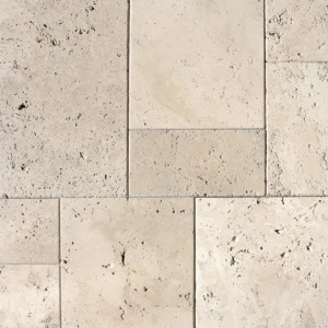 Ivory Antiqued Travertine Patterns Versailles Pattern