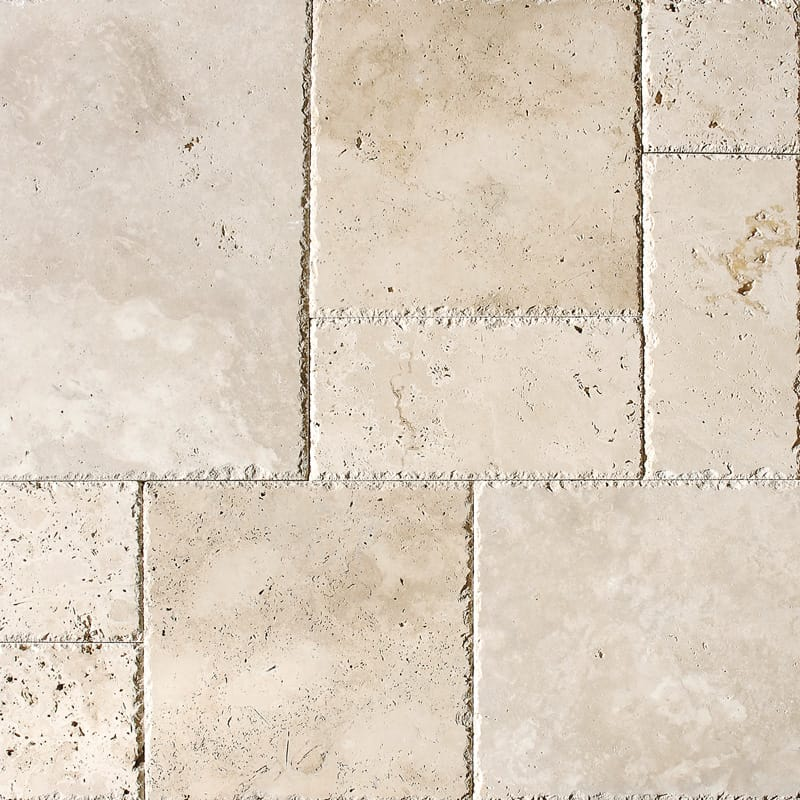 Ivory Unfilled Chiselled Versailles Pattern Travertine Patterns