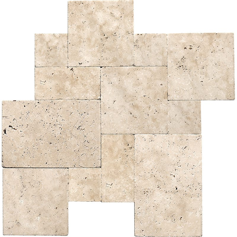 Ivory Tumbled Versailles Pattern Travertine Pavers Versailles Pattern