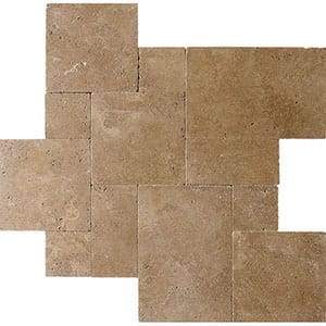 Walnut Dark Tumbled Travertine Patterns Versailles Pattern
