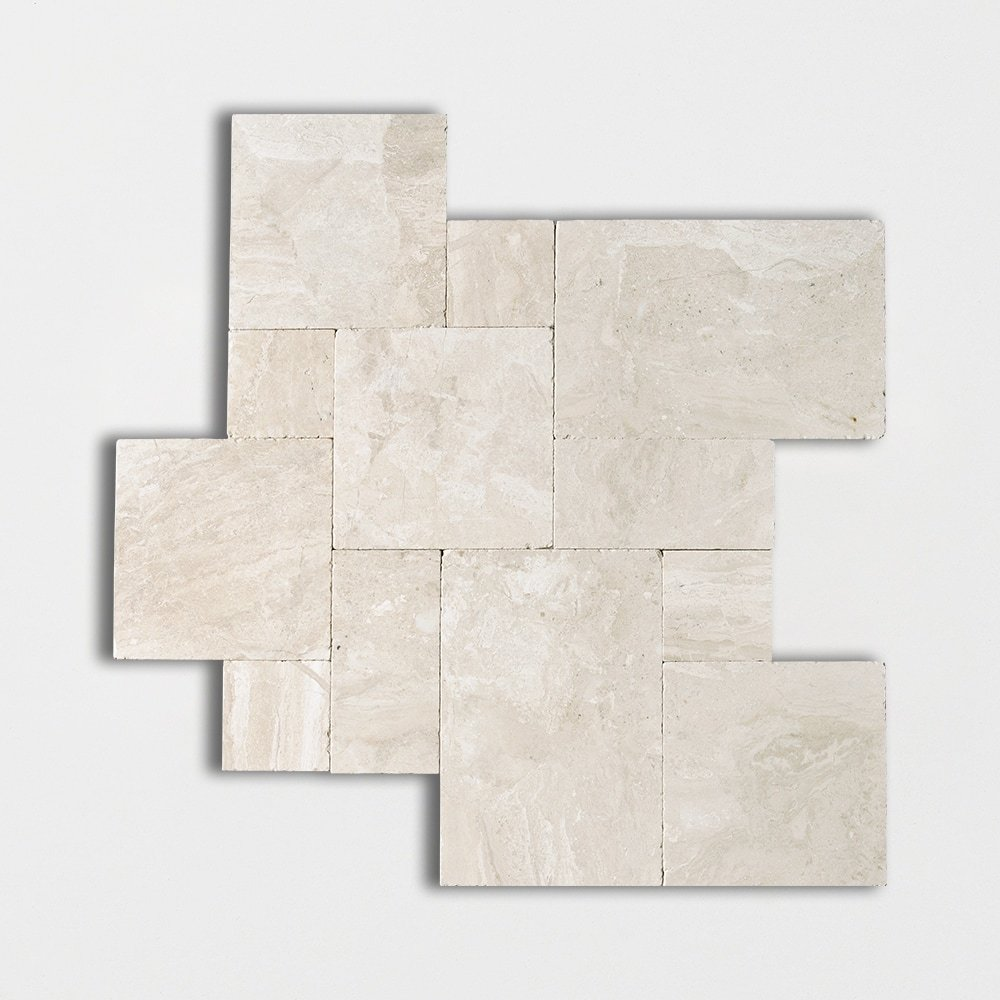 Diana Royal Tumbled Marble Pavers Versailles Pattern