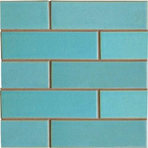 Turquoise Flats Leather Ceramic Tiles 2 1/8×7 1/2