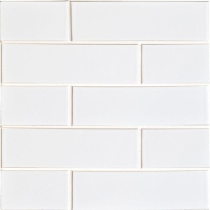 White Brick Gloss Ceramic Tiles 2 1/8x7 1/2