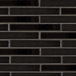 Black Vinyl Gloss Ceramic Tiles 1 5/8x11 5/8