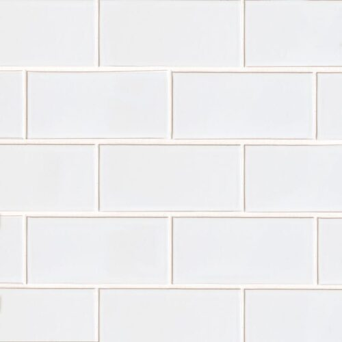 White Brick Gloss Ceramic Tiles 3 5/8×7 5/8