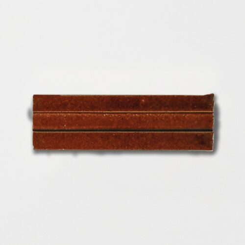 Woody Brown Strided Ceramic Wall Decos 2 1/4×7 3/8