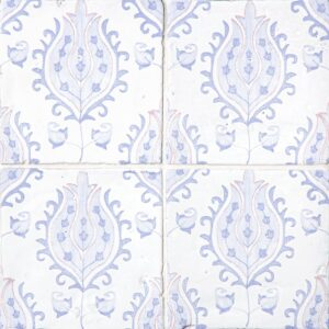 Indigo Wash Tulips Glossy Terracotta Tiles 6x6