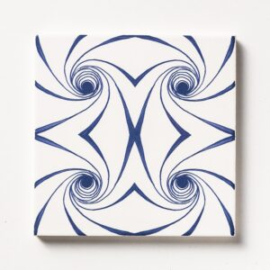 Blue Twisted Glossy Ceramic Tiles 6x6