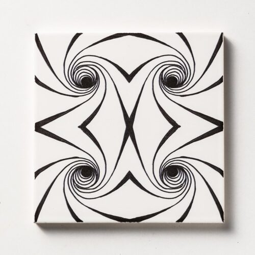 Black Twisted Glossy Ceramic Tiles 6×6