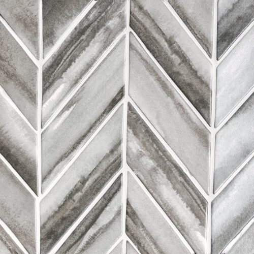 Storm Matte Chevron Ceramic Tiles 2×6