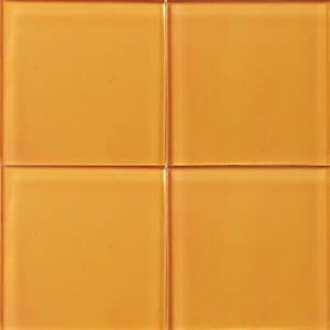 Papaya Glossy Glass Tiles 4x4