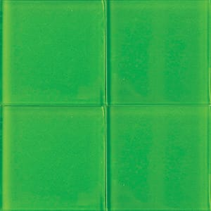 Lime Glossy Glass Tiles 4x4