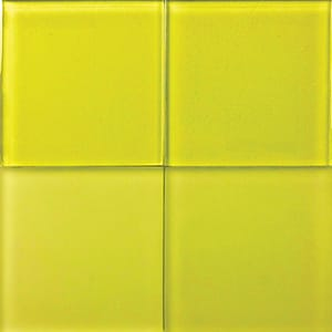 Lemon Glossy Glass Tiles 4x4