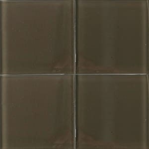 Dark Ash Glossy Glass Tiles 4x4