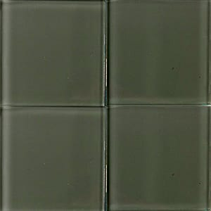Pewter Glossy Glass Tiles 4x4