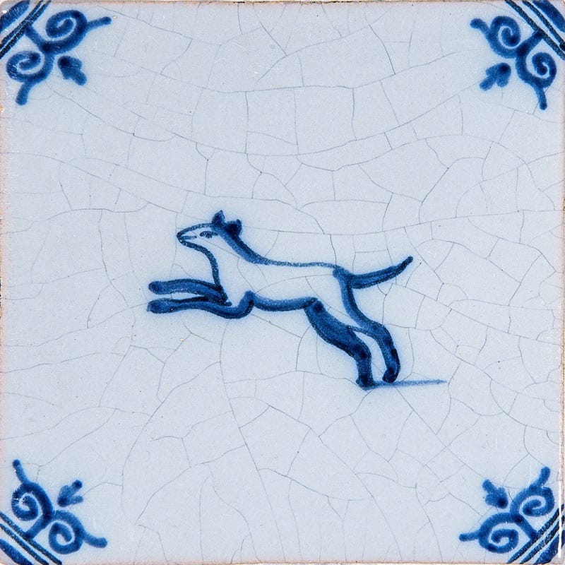 Small Animals Blue Glazed Ceramic Tiles 4x4