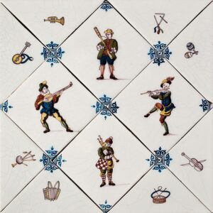 Diagonal Musicians Poly Glazed Ceramic Tiles 5x5