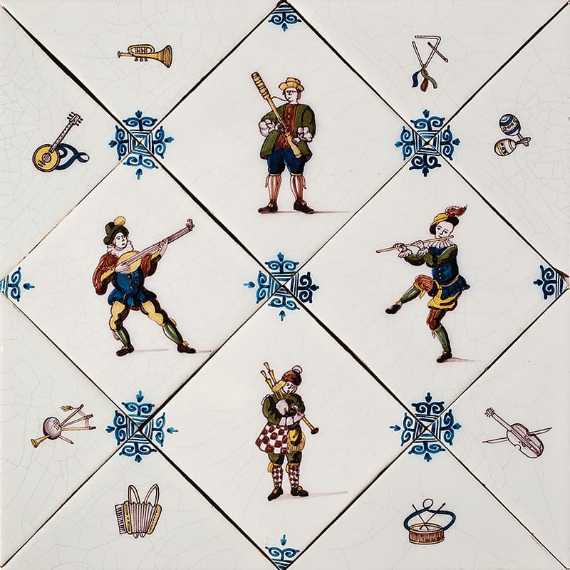 Diagonal Musicians Poly Glazed 5x5 Ceramic Tiles