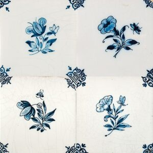 Small Flowers Blue Glazed Ceramic Tiles 5x5