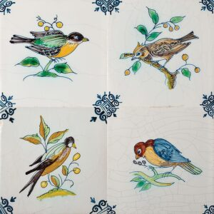 Birds On Branch Poly Glazed Ceramic Tiles 5x5