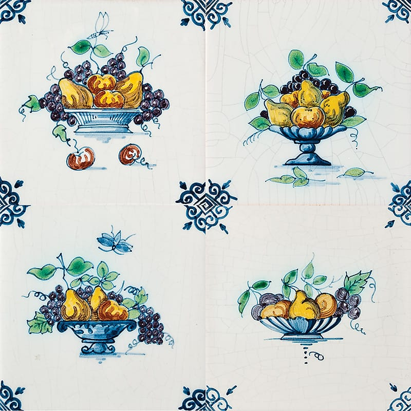 Fruit Basket Poly Glazed Ceramic Tiles 5x5