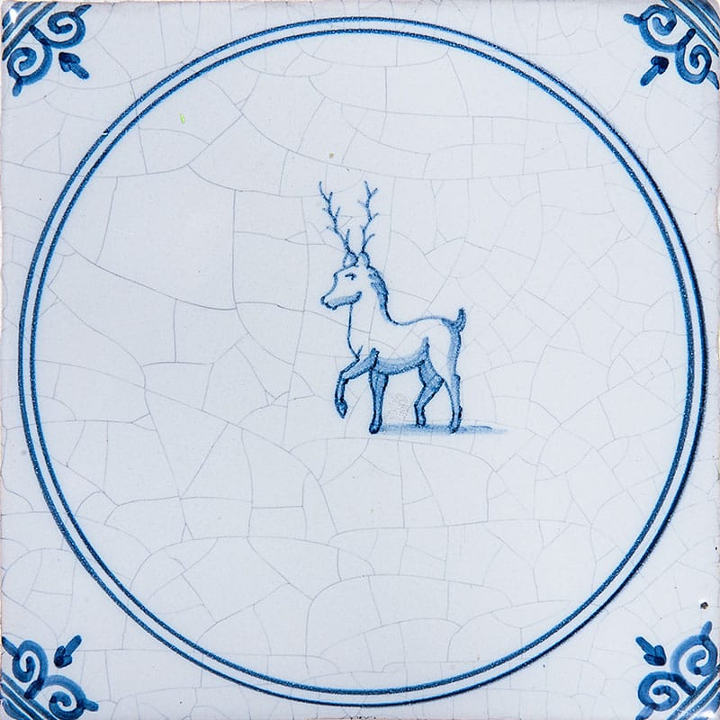 Animals In Circle Blue Glazed 5x5 Ceramic Tiles