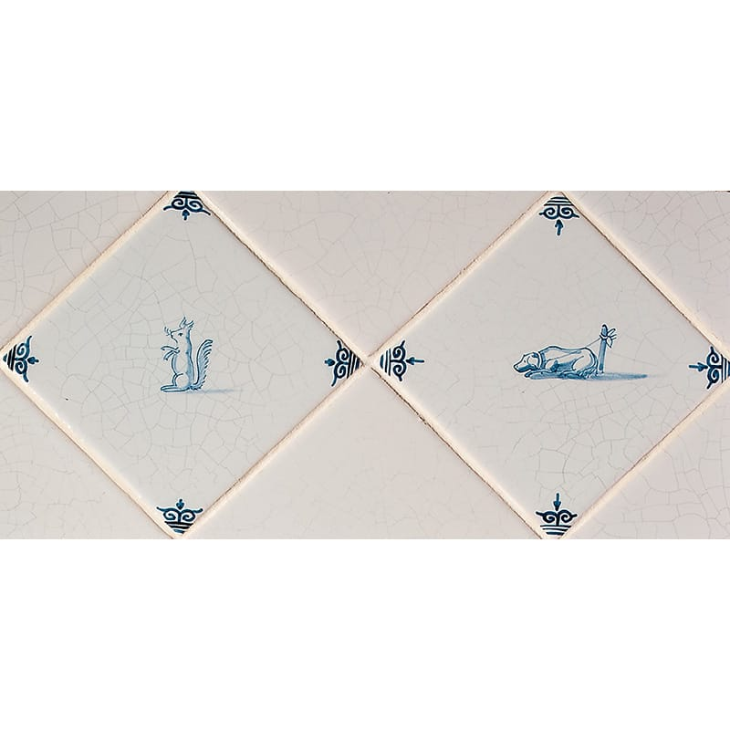 Diagonal Small Animals Blue Glazed Ceramic Tiles 5x5