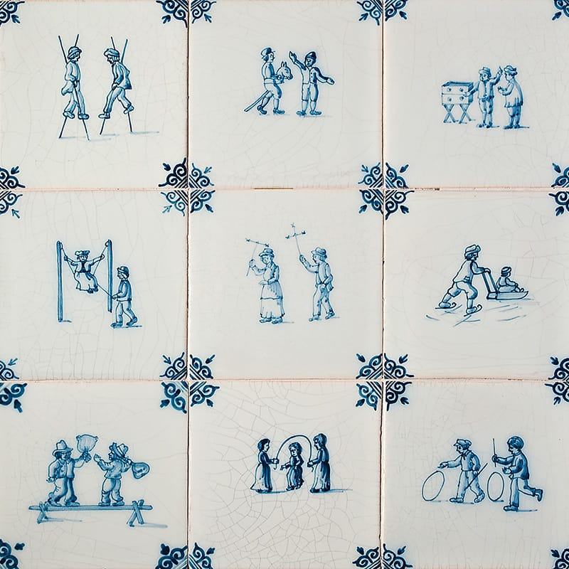 Children?s Games Blue Glazed Ceramic Tiles 5x5