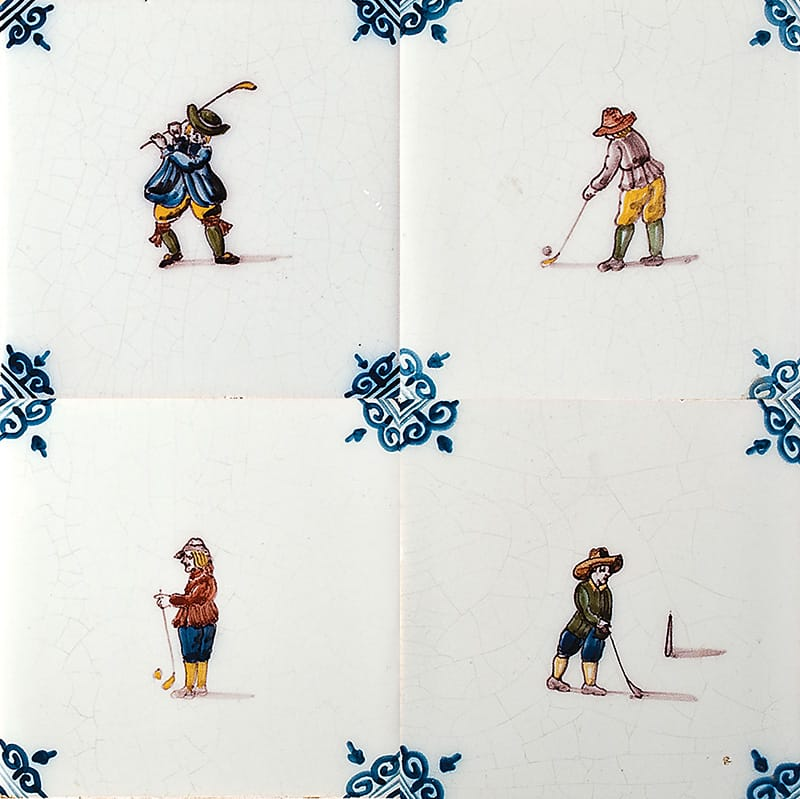 Golfers Poly Glazed Ceramic Tiles 5x5