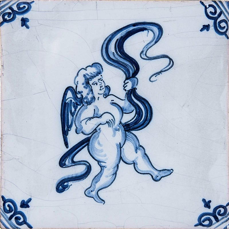 Musical Cherubs Blue Glazed Ceramic Tiles 5x5